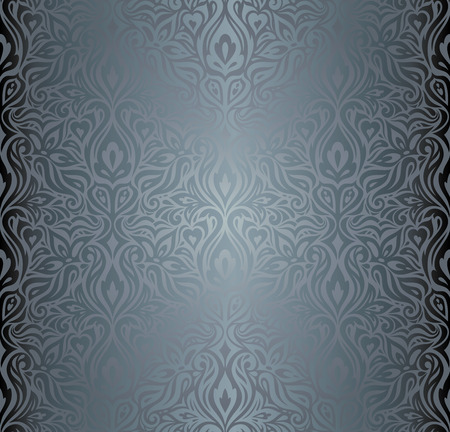 Silver Floral shiny decorative holiday vintage wallpaper Background fashion design pattern