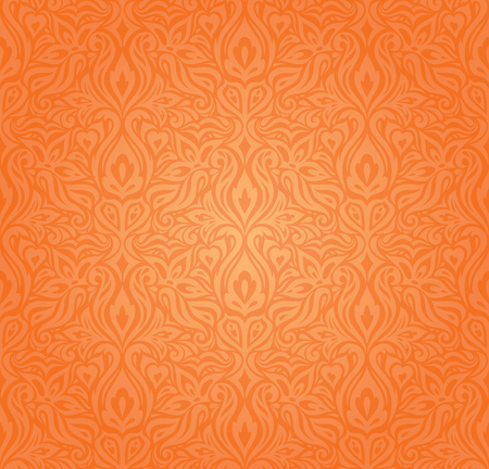 Floral Orange Retro style colorful wallpaper background design in vintage style Stock Illustratie