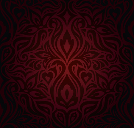 Dark red brown floral wallpaper seamless vector decorative design background in vintage style