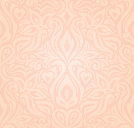 Wedding floral Pale ecru pale peach decorative vector vintage pattern fashion wallpaper design