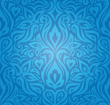 King Blue Floral Vintage wallpaper background design with curvy decorative flowers Stock Illustratie