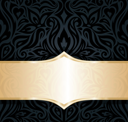 Decorative black & gold floral luxury wallpaper curvy background design in vintage style