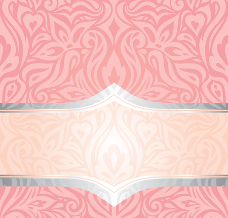 Pink & silver gentle retro decorative invitation trendy vector wallpaper design in vintage style