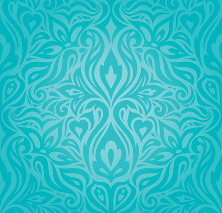 Turquoise floral holiday vintage background wallpaper green blue fashion decorative design