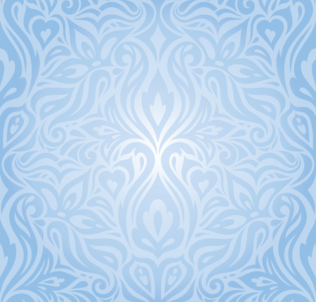 Gentle Blue floral vector seamless decorative background vintage retro wedding wallpaper design Stock Illustratie