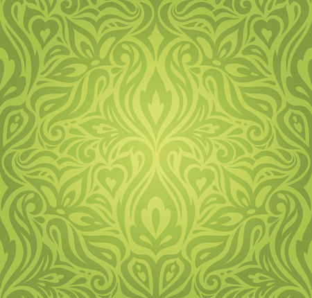 Green Floral vintage wallpaper vector decorative retro design backround Stock Illustratie