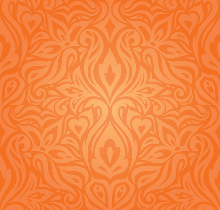 Floral Orange Retro style colorful wallpaper curvy background design in vintage style