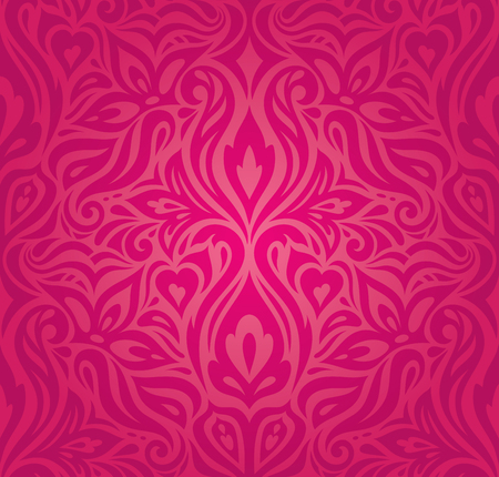 Red floral decorative vector pattern wallpaper background vintage fashion design