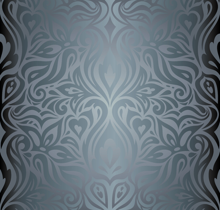 Silver Floral shiny decorative holiday vintage fashion wallpaper Background design