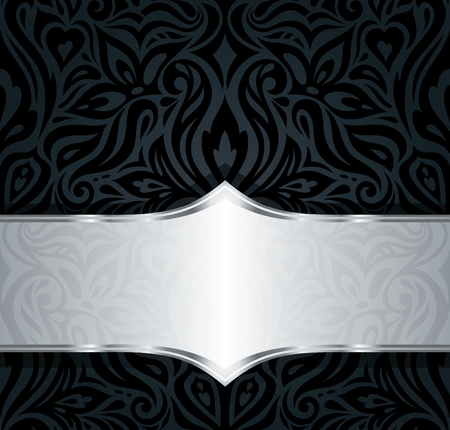 Decorative black & silver floral vintage luxury wallpaper background pattern design in vintage style