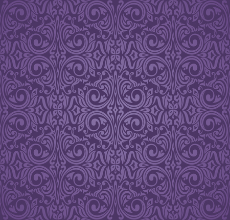 Violet purple Floral  vintage seamless pattern background design Stock Illustratie