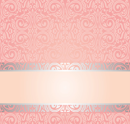 Pink and silver gentle invitation vintage wallpaper design background