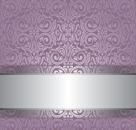 Violet vintage wallpaper invitation design background with copy space