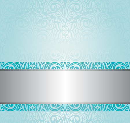 Turquoise floral vintage invitation background design Çizim