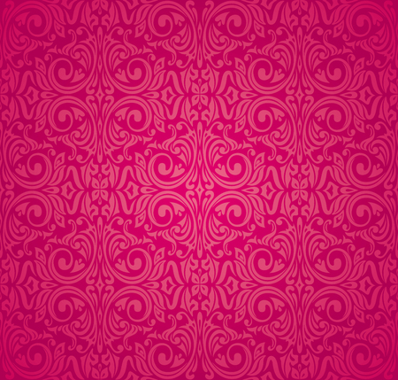 Red floral vector pattern wallpaper design background Çizim