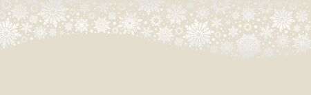 Christmas Vector snowflakes ecru web banner background with silver snowflakes and copy space