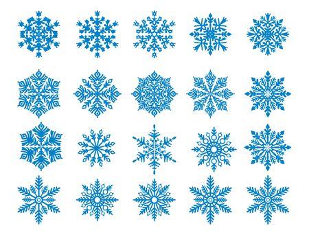 Vector snowflake set blue snowflake s isolated on white background Ilustração Vetorial