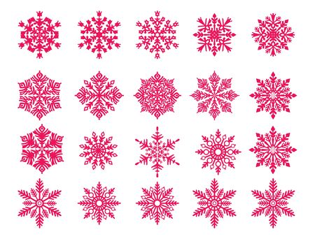 Vector snowflake set red snowflake s isolated on white background