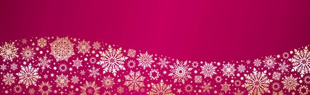 Christmas Vector snowflakes red gold web banner background with silver snowflakes and copy space