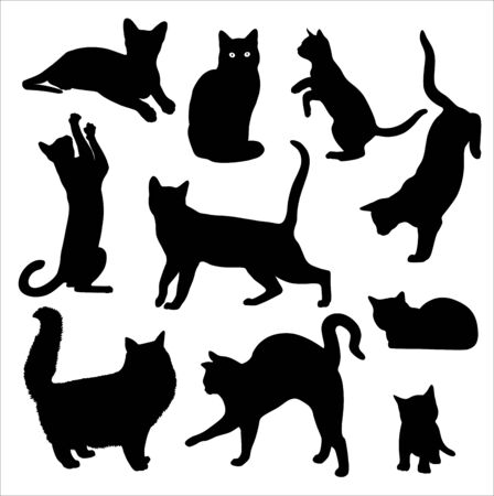 Cat silhouette vector set Isolated On White
