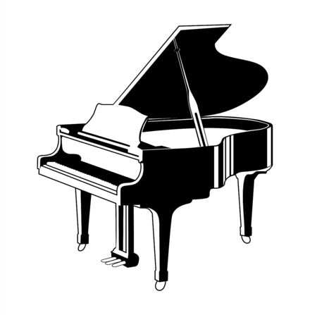 Vector silhouette of grand piano isolated