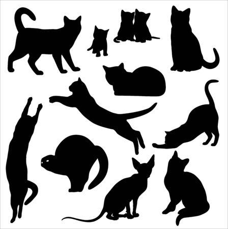 Conjunto de silueta de gato aislado en blanco