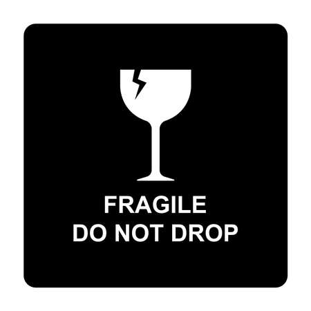 fragile do not drop delivery label sign vector