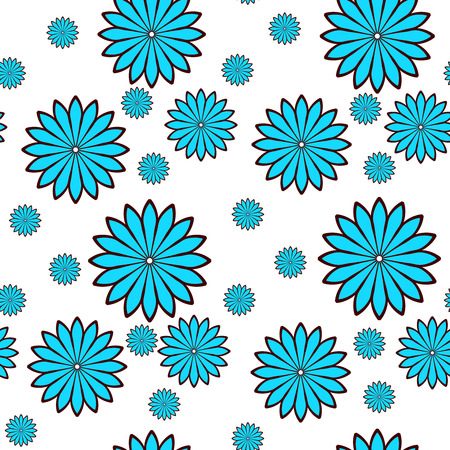 Seamless pattern with blue flowers Illustration