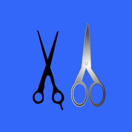 two isolated black scissors on white background