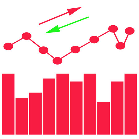 Up and down arrows, statistic financial graphic