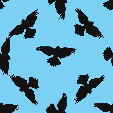 Holy birds dove seamless pattern on blue background. Ilustração