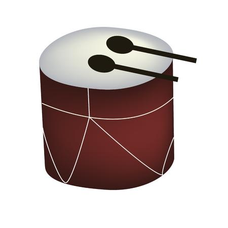 Illustrazione di un grande tamburo giocattolo su uno sfondo bianco Vettoriali