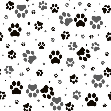 Paw print seamless. Traces of Cat Textile Pattern. Cat footprint seamless pattern. Vektoros illusztráció