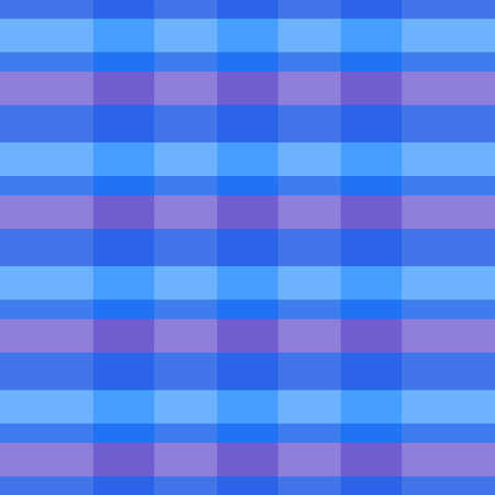 Seamless tartan plaid pattern. Checkered fabric texture print in moderate blue, light blue, white and bright red.