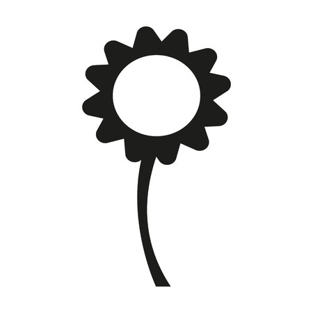 Vector flower Icon in black and white Illustration