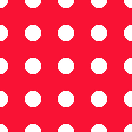 red and white seamless polka dot pattern vector