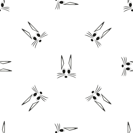 seamless grey cat with pattern vector illustration Illustration