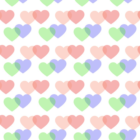 Cute hearts pattern in pastel colors. Sweet love poster, banner template. Illustration can be used as print for fabric, apparel, clothes, cards, packaging design for birthday. Colorful EPS 10 file.