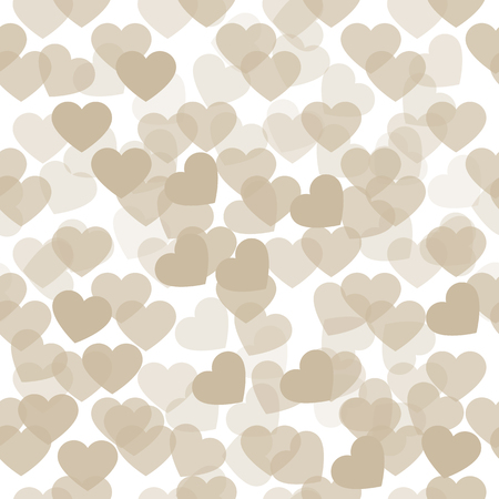 Cute hearts pattern in pastel colors. Sweet love poster, banner template. Illustration can be used as print for fabric, apparel, clothes, cards, packaging design for birthday. Stock Photo