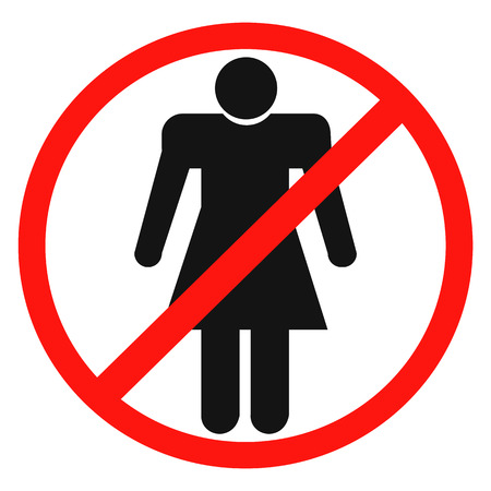 Sign no woman on a white background