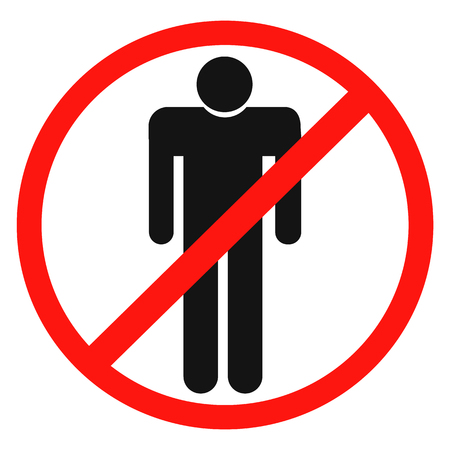 No access, no entry, prohibition sign with man silhouette, vector illustration. Illustration