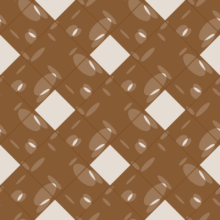Seamless tartan plaid pattern. Tartan design in pale orange, white & brown stripes on dark red background.