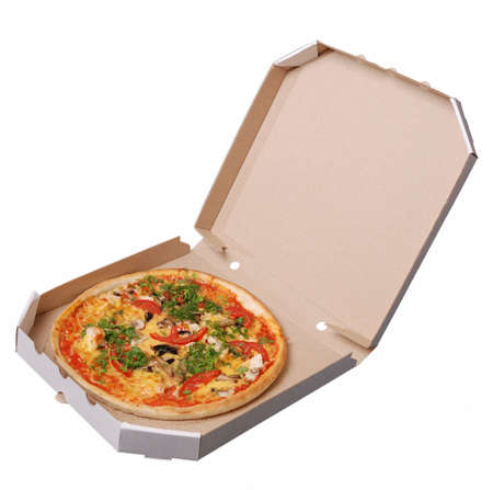 Hot italian  pizza just delivered Stock Photo
