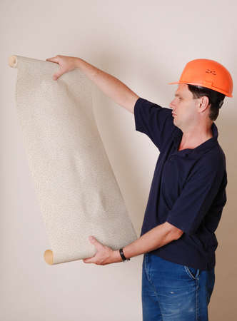 Man with wallpaper on white background Stock Photo - 3676408