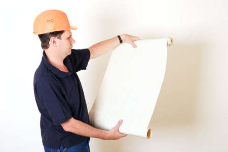 Man with wallpaper on white background Stock Photo - 3676404
