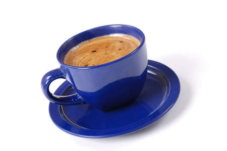 colombian food: Cup of black coffee on white background