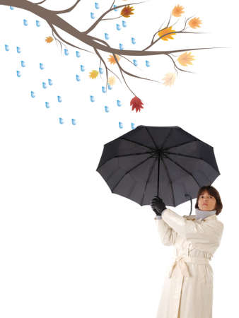Woman with  umbrella isolated on white Stock Photo - 3755074