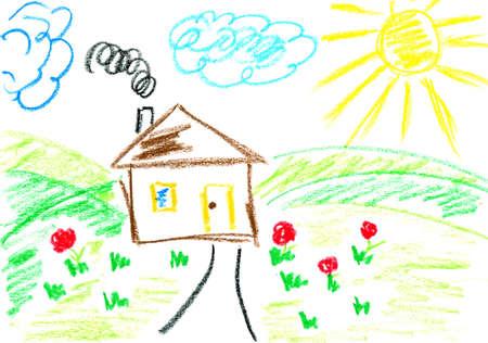 ni�os con l�pices: Casa. Ni�os de arte. Ni�o del dibujo con l�pices de colores.