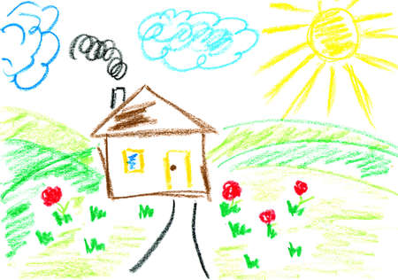 flower drawings: House. Kids art. Childs drawing with crayons. Stock Photo