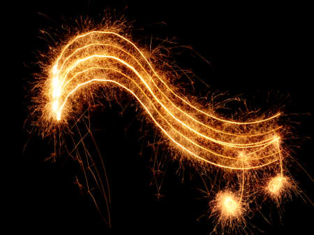 Sparkler music wave isolated on black background Stock Photo - 3757417